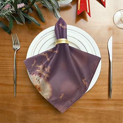 WDDHOME Classic Napkins Colorful Dandelion Flower Seed Sunlight Printed Cloth Napkins 20 X 20 Inch For Family Dinners,weddings,cocktail,kitchen Tableware Decoration