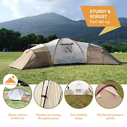 Skandika Turin Large Family Group 12-Person Tent with 3 Sleeping Rooms and Sun Canopy Porch (Grey/Orange) (Brown/Beige …)
