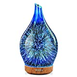 Essential Oil Diffuser 3D Glass Aromatherapy Ultrasonic Humidifier, Air Refresh Auto Shut-Off, Timer Setting, BPA Free for Home Hotel Yoga Leisure SPA Gift 100ml Last 4H