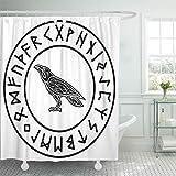 Tenda per doccia Tessuto in Poliestere impermeabile Animali Rune norvegesi Uccello Nero Celtico Corvo Nodo Modello di simboli Set con ganci Tende da bagno Decorative