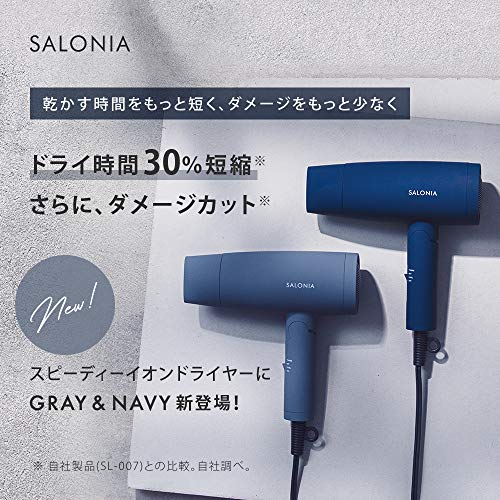 SALONIAサロニアスピーディーイオンドライヤーグレーヘアドライヤー大風量速乾マイナスイオンコンパクト軽量メーカー1年保証SL-013GR