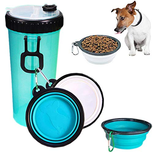 Dog Water Bottle for Walking Hiking Camping Outdoor and Food Container 2 in 1 with 2 Collapsible Dog Bowls,MSDADA Leak Proof Portable Travel Water Dispenser Best Christmas Gift for Dogs Cats and Other Pets (XL Size,Blue)
