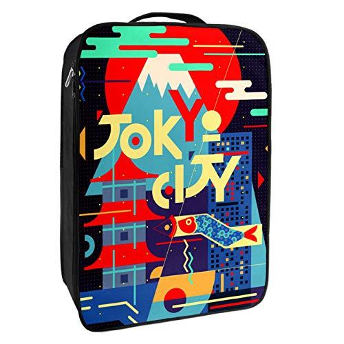 Caja de almacenamiento para zapatos de viaje y uso diario Tokyo City Zapatero organizador portátil impermeable hasta 12 yardas con doble cremallera y 4 bolsillos