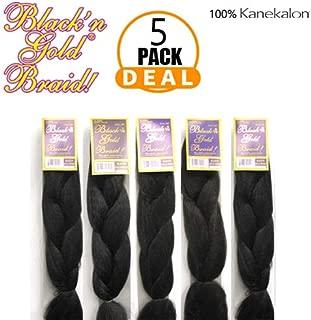 5 Packs of Classic Jumbo Box Braids Kanekalon Braids Synthetic Braiding Hair (#1)