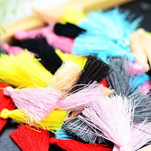 oshhni 50pcs Mini 1.57 Inch Silk Tassels Decorations Fringe Charms Pendants for Bags