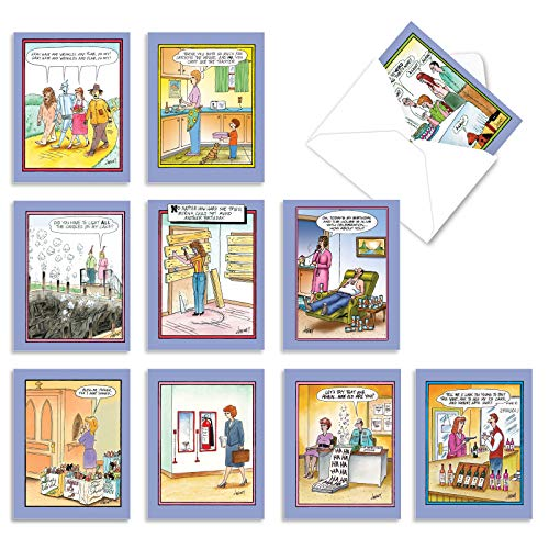 M6616BDG Tom Cheney Toons: 10 Assorted Birthday Note Cards Featuring an Assortment of Hilariously Funny Cartoons by Tom Cheney, w/White Envelopes.