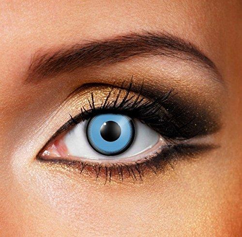 Funky Vision Kontaktlinsen - 3 Monatslinsen, Saw Blue, Ohne Sehstärke, 1 Stück