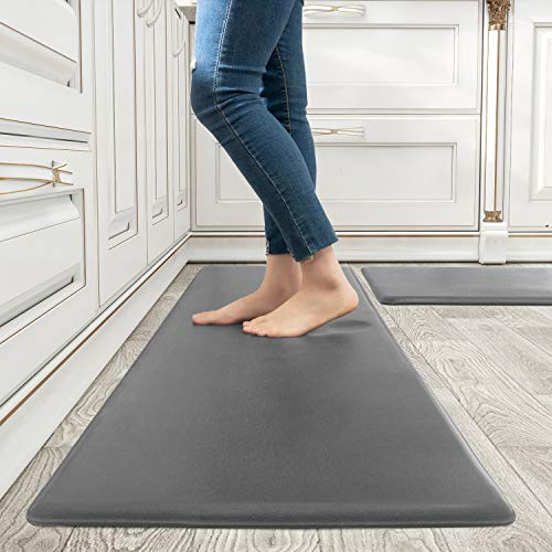 Kitchen Rugs and Mats Kitchen Mat Set of 2 Anti Fatigue Standing Mat for Kitchen, Office, Laundry Room and Stand-up Desks