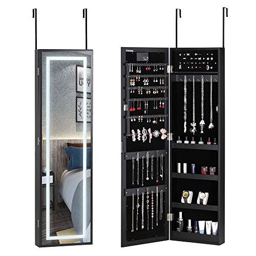 Casaria Armario para Joyas con Espejo Negro con Luces LED 31,5x9x110cm Armario Colgante para la Puerta joyero almacenaje