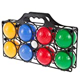 Hey! Play! Beginner Bocce Ball Set with 8 Colorful Bocce Balls, Pallino and Carrying Case- Classic Outdoor Game for Kids, Adults and Family (80-10605)