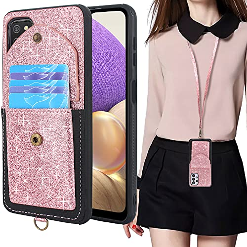 Lacass for Samsung Galaxy A32 5G A326 Case Slim Leather Wallet Protective Cover with Elastic Pocket Credit Card Slot Holder Detachable Neck Lanyard Strap (Bling Rose Gold)