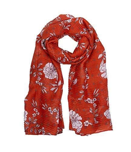 SIX Plissierter Schal mit liebevoll gestaltetem Blumenprint (705-780)