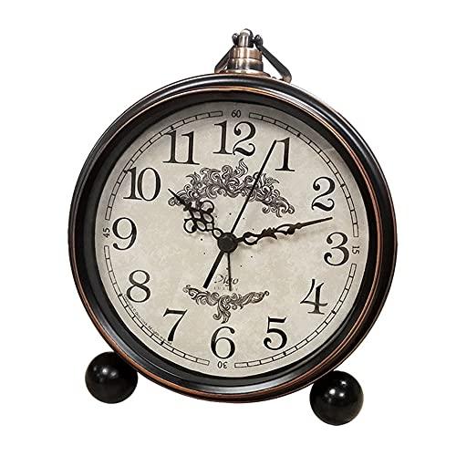 CKAN Despertador Retro para Sala de Estar Mesa Escritorio Dormitorio Vintage Clásico Sin Tictac Pasado de Moda Reloj 5.3 Pulgadas Funciona con Pilas para Durmientes Pesados