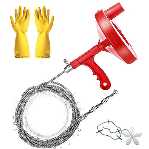 Heavy Duty Plumbers Snake, 25-Ft Plumbing Snake Drain Auger, Hair Clog Remover Pipe Snake for Kitchen/Bathroom Sink/Bathtub Drain/Toilet, with Pipe Dredge Tool: Gloves and Shower Drain Protector