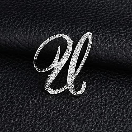 SSMDYLYM Carta de la Moda Broche Lindo para Las Mujeres Hombres Rhinestones Color de Plata Pines Metal Pins Camisa Accesorios de joyería (Color : U)