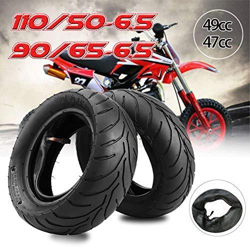 Liamostee Neumático Delantero Trasero + Tubo Interior 90/65 / 6.5 110/50 / 6.5 para 47cc 49cc Mini Pocket Bike
