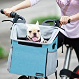 Pet Carrier Bicycle Basket Bag Pet Carrier/Booster Backpack for Dogs and Cats with Big Side Pockets,Comfy & Padded Shoulder Strap,Travel with Your Pet Safety(Blue)