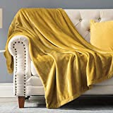 KEITE Mantas para Sofa de Franela,Manta para Cama 90 Reversible de 100% Microfibre Extra Suave,Manta Transpirable (Oro, 150 x 200 cm)