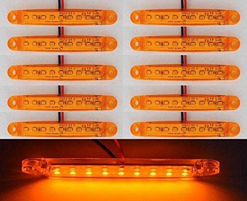 Lot de 10 marqueurs 24 V 9 LED côté avant Ambre Orange LED pour camion remorque Caravane