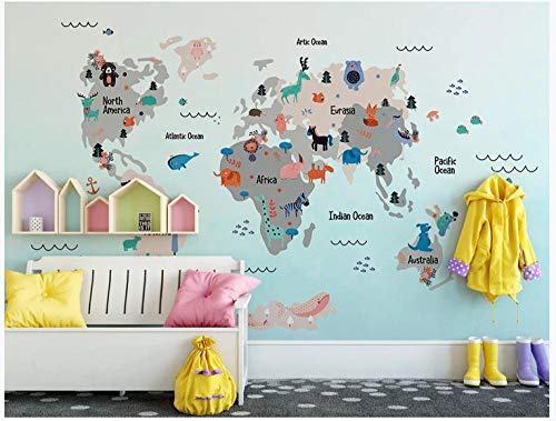 MKmd-s Custom 3D Mural Wallpaper Livig Room, Hand Drawn Cartoon World Animal map Children Room
