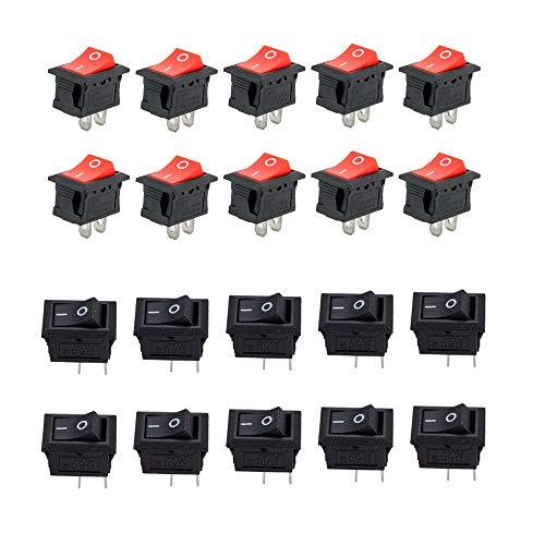 CESFONJER Mini Interruptores Basculantes, AC 10A / 125V, 6A / 250V 2 Pin ON/OFF SPST Interruptores para Coche (10 Pcs Negro, 10 Pcs Rojo)