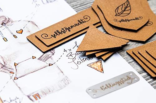 Dortex Hoodie-Labelset mit Aufnähern aus Kunstleder (braun)