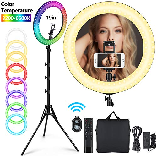 "19"" RGB Selfie Ring Light with Tripod Stand, 11 Colors Modes RGB Dimmable LED Ring Light with Phone Holder for Tiktok、YouTube/Shooting/Vlogs/Makeup, Compatible with iPhone Android Phone"
