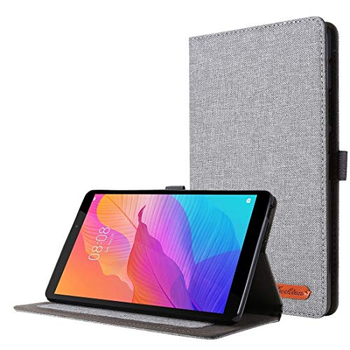 YANGJ For Huawei MatePad T8 Horizontal Flip TPU + Fabric PU Leather Protective Case with Card Slots & Holder(Black) (Color : Grey)