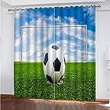 3D Cortinas Opacas Fútbol Americano Dormitorio 3D Habitación Infantil Cortinas 100% Poliéster Ruido Reducció Balcon Salón Decoracion 182Wx214H Cm