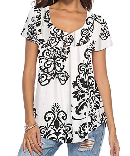 DEMO SHOW Damen Tunika Top Locker Langarm V Ausschnitt Knopfleiste Plissiert Floral Henley Shirt Bluse T Shirt (A-Weiß, L)
