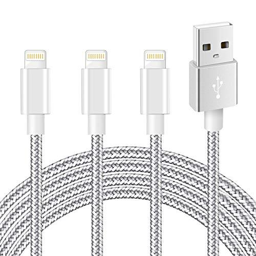 iPhone 充電ケーブル ライトニングケーブル mfi認証 2M 3本セット アイホン 充電ケーブル Lightningケーブル 急速充電 断線防止 高耐久 iPhone12 / 12 Mini /12 Pro/11/ XS/XR/X / 8 / 7 / 6s/ 6/ 6PLUS/ 5 多種対応, シルバーグレー