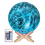 3D Moon Lamp ,Cool Moon Night Light for Kids,16 Colors LED Skull Lamp,Star Moon Light with Wood Stand,Remote & Touch Control USB Rechargeable ,Gifts for Halloween Room Decor