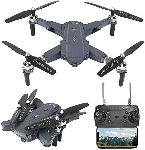 3T6B Drohne mit 1080P HD Kamera, 5 Megapixel WiFi FPV-Echtzeitübertragung, RC Quadcopter, EIN Knopf Start, 3 Gang Modi, Headless Modus (mit Zwei Batterien)