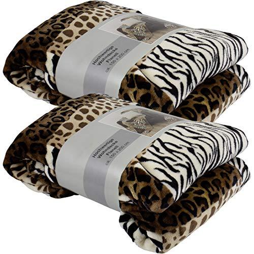 XL Kuscheldecke Animal Größe 150x200cm Tierfelloptik Wohndecke Afrikamotiv weich und warm Qualität 300g/qm (Tierfelloptik dunkel - 2 Stück)