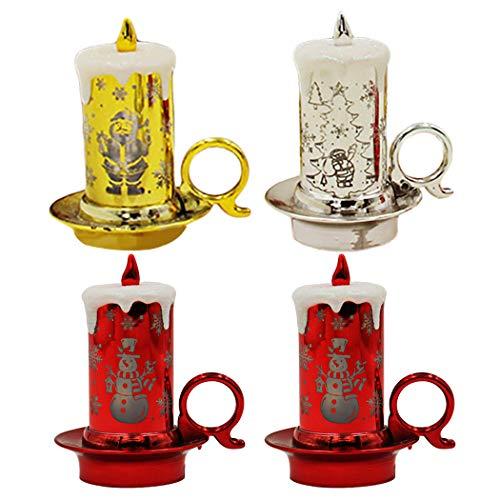 Joyibay 4 Piezas Vela LED Moda Luz De Vela Lámpara De Noche Adorno De Mesa Decoración De Escritorio para Navidad
