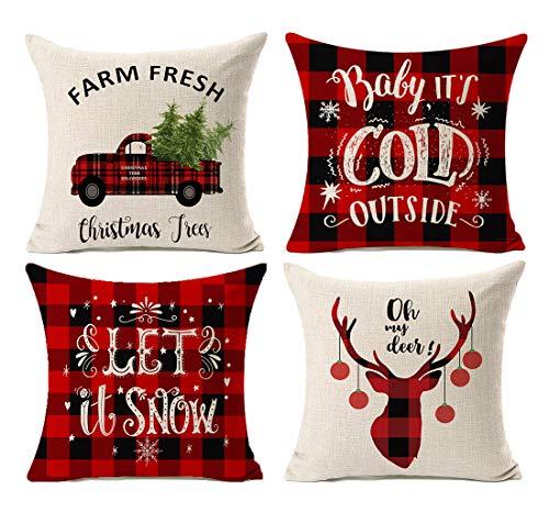 Kithomer Set of 4 Christmas Decorations Pillow Covers Christmas Buffalo Plaid Farmhouse Decor Throw Pillow Cases Retro Truck Cushion Cover 18 x 18...