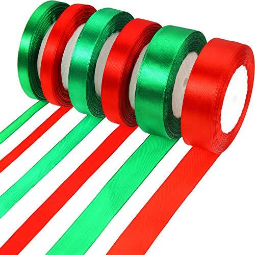 150 Yards Christmas Satin Ribbon Xmas Gift Wrapping Ribbon for Christmas DIY Crafts Presents Decoration (10 mm, 15 mm, 25 mm)