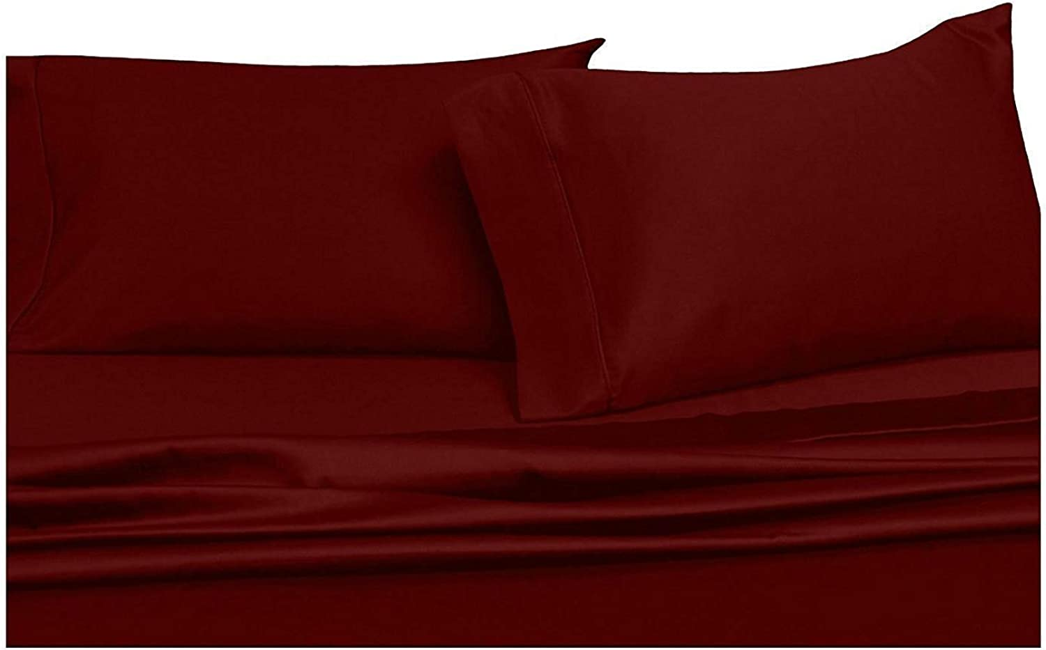 Royal Hotel's Solid Burgundy 600-Thread-Count Super-Deep 4pc California-King Bed Sheet Set 100-Percent Cotton, Sateen Solid, Extra Deep Pocket
