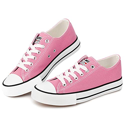 Womens Canvas Sneakers Low Cut Casual Shoes Fashion Flats Lace Up Sneaker Driving Comfortable Shoes Hot Pink 9