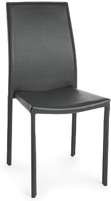 ARREDinITALY – Juego de 4 sillas Acolchada sintética Gris
