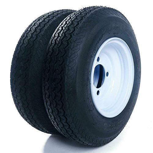 "2 Trailer Tires Rims 480-8 4.80 X 8 LRB 4 Lug 4"" Hole Bolt Wheel White Spoke 4PR"