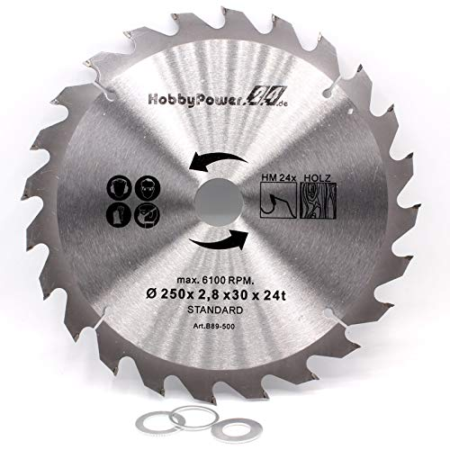 Kreissägeblatt Sägeblatt Hartmetall für Holz Tischkreissäge Kappsäge Gehrungssäge 250 x 30 mm 24 Z Zähne + 3 Reduzierringe auf 24,4mm, 20mm und 16mm