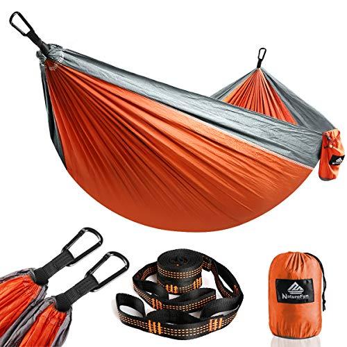 NatureFun Amaca da Campeggio da Viaggio Ultraleggera | Capacità di Carico 300kg,(275 x140 cm) Traspirante,Nylon da Paracadute ad Asciugatura Rapida | 2 x Moschettoni Premium,2 x Corde in Nylon Incluse