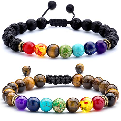 Hamoery Men Women 8mm Lava Rock Chakra Beads Bracelet Set Friend Gifts Braided Rope Natural Stone Yoga Bracelet Bangle (Set 3)