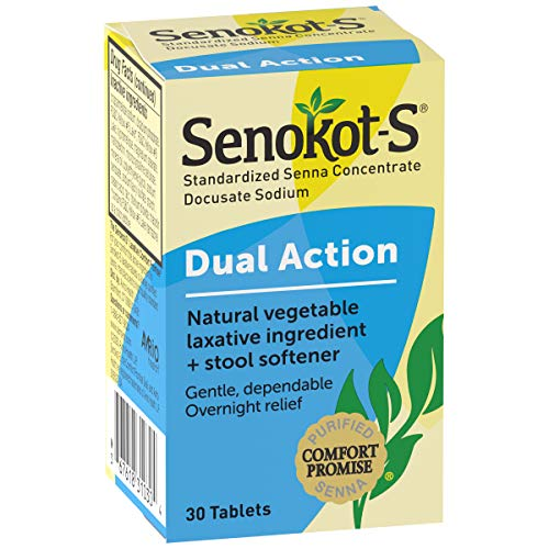Senokot-S Dual Action 30 Tablets, Natural Vegetable Laxative Ingredient Plus Stool Softener Tablets, Gentle Dependable Overnight Relief of Occasional Constipation