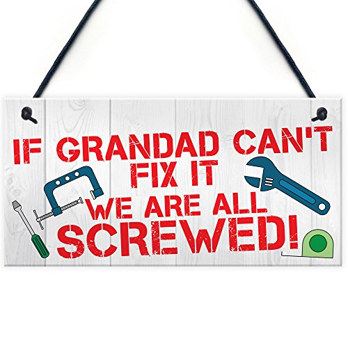 RED OCEAN Grandad Fix It Screwed Man Cave Garage Shed Hanging Plaque Dad Gift Sign Funny