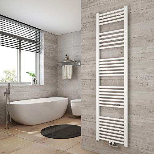 WELMAX Weiß Badheizkörper 400 x 1600 mm Handtuchtrockner 789 Watt Leistung Heizkörper Bad Mittelanschluss Handtuchheizkörper
