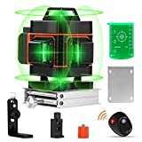 16 Lines Laser Level with Target Plate, Elikliv 4d Laser Level 360 Self Leveling, Green Laser Level Horizontal Vertical with Rechargeable Battery 4000mAh for Home Improvement Measuring Layout Work