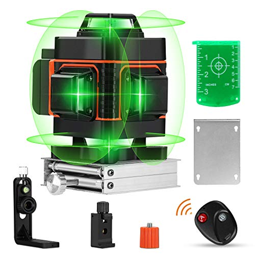 16 Lines Laser Level with Target Plate Elikliv 4d Laser Level 360 Self Leveling Green Laser Level Horizontal Vertical with Rechargeable Battery 4000mAh for Home Improvement Measuring Layout Work