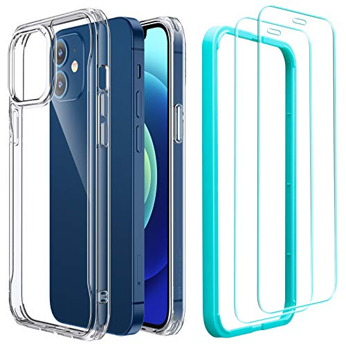 ESR Sidekick Series Case with Screen Protectors Compatible with iPhone 12 Mini 5.4-Inch [2 Glass Screen Protectors] [Ergonomic Protective Case] [Shock-Absorbing Corners] - Clear